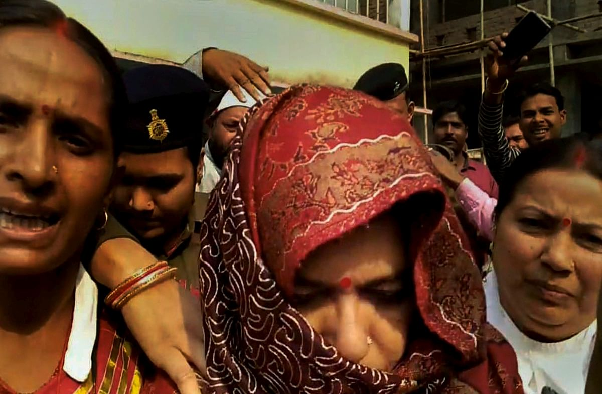 Former Bihar minister Manju Verma, an accused in Muzaffarpur shelter home rape case, after she surrendered in a court in Begusarai. Verma had been evading arrest in an Arms Act case lodged in the course of investigations in the Muzaffarpur shelter home scandal.