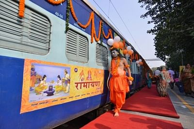 New Delhi: The Shri Ramayana Express, a special tourist train to run on the Ramayana circuit to cover major spots related to the Hindu epic, that was flagged off from Safdarjung Railway Station in New Delhi on Nov 14, 2018. The train will complete its journey till Rameswaram, Tamil Nadu, in 16 days covering all important destinations associated with the life of Lord Shri Ram. (Photo: IANS)
