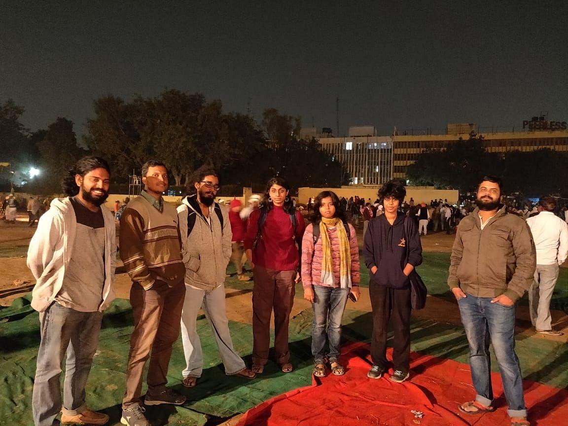 Students from Jawaharlal Nehru University at the Ramlila Maidan.