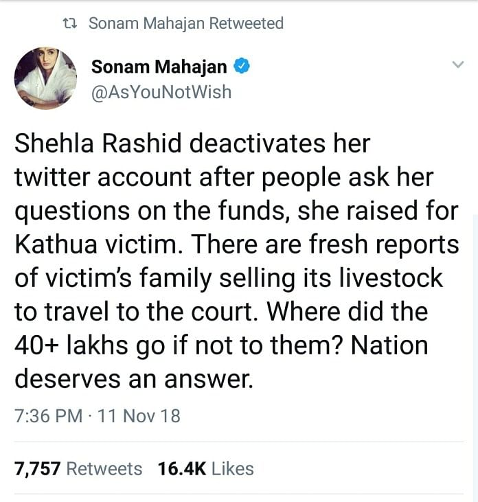 Shehla Rashid Didn't Pocket Money Collected for Rape Victims' Kin