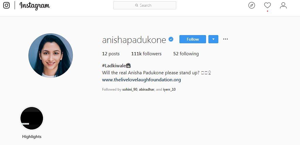 A sreenshot from Anisha Padukone's Instagram bio before she updated it to #DeepVeerwale.