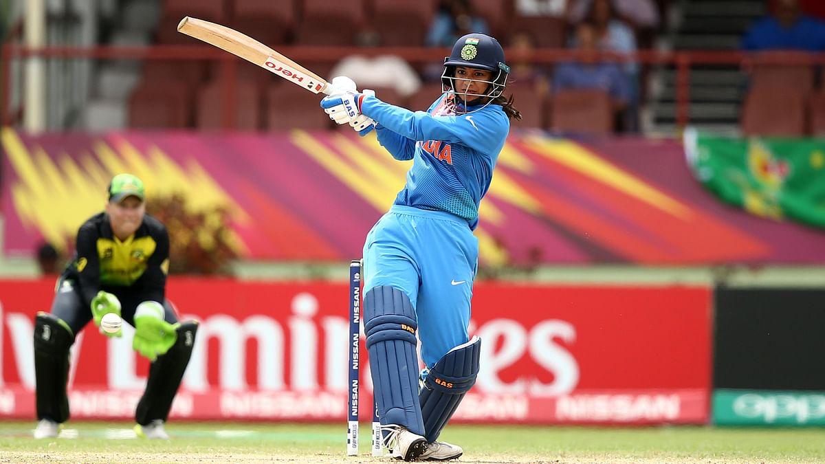 Smriti Mandhana plays a shot on the leg side in the ICC Women's World T20 match against Australia.