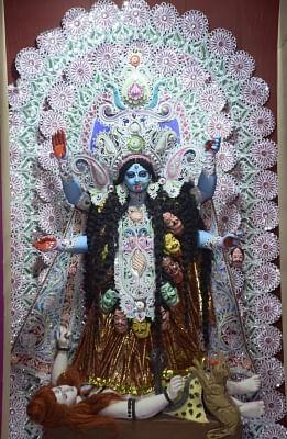 Kolkata: A view of an idol of Goddess Kali at a puja pandal in Kolkata on Nov 6, 2018. (Photo: IANS)