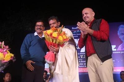 "New Delhi: Delhi Chief Minister Arvind Kejriwal, Deputy Chief Minister Manish Sisodia and Carnatic singer TM Krishna during a concert ""Awam Ki Awaz"" hosted by the Delhi Government at the Garden of Five Senses in New Delhi on Nov 17, 2018. (Photo: IANS)"