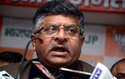 Ravi Shankar Prasad. (File Photo: IANS)