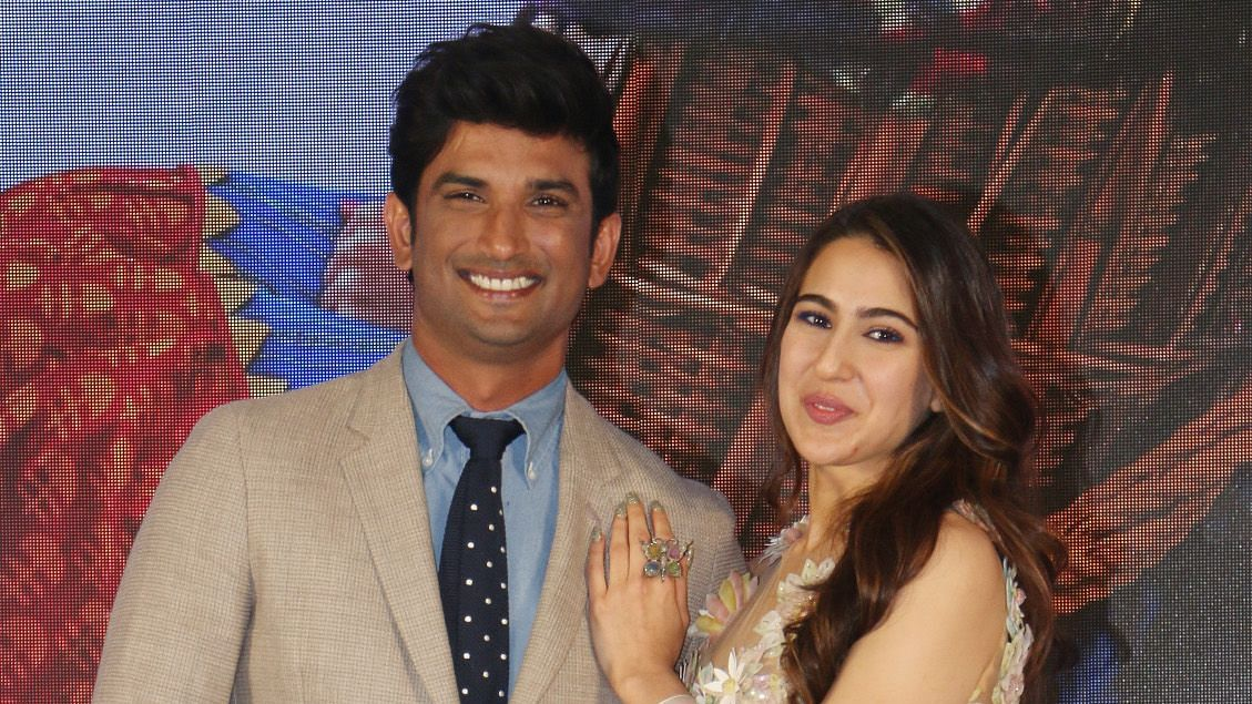 Sushant Singh Rajput and Sara Ali Khan at the launch of <i>Kedarnath</i> trailer.&nbsp;