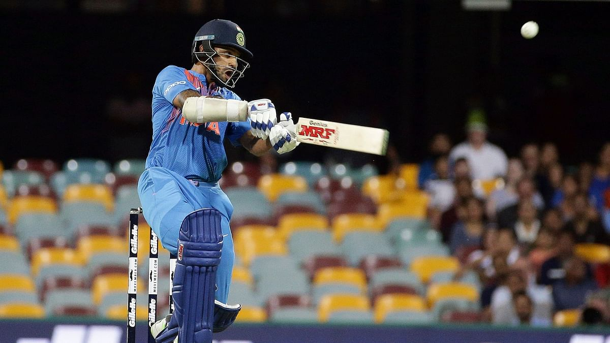 Shikhar Dhawan en route his 76 against Australia in the first T20I in Brisbane on Wednesday.