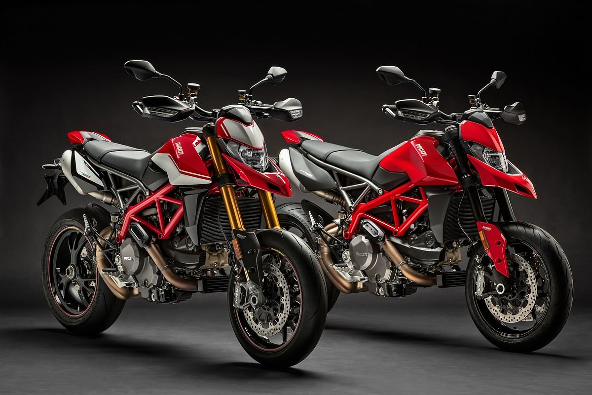 The Ducati Hypermotard 950 (right) and SP variant (left).