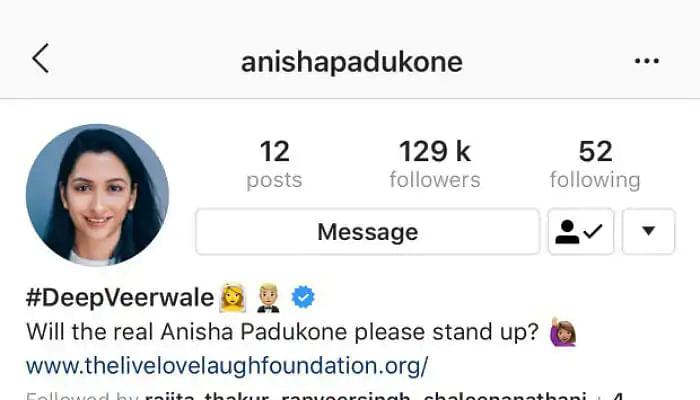 A screenshot of Anisha Padukone's Instagram bio.