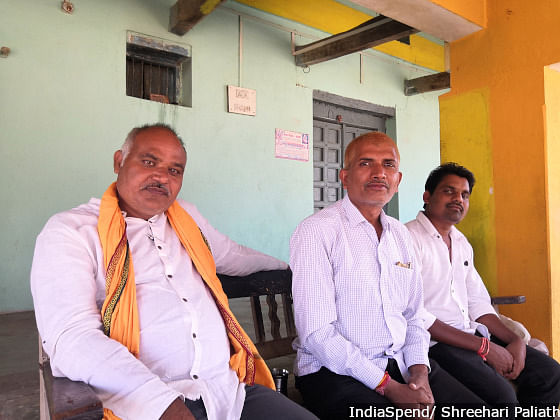 Jeevan Yadav (extreme right) and Doman Chandravanshi (centre) are members of the RSS-affiliated Bharatiya Kisan Sangh in Kawardha. Party affiliations do not matter when it comes to farm distress, they say. There have been over 20 protests since the last elections.