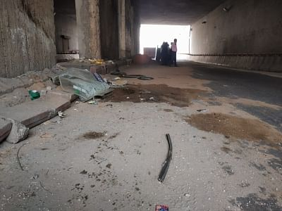 New Delhi: The site where the school bus of APJ school hit a mound of concrete lying on the roadside at the Rajnigandha underpass in Sector-20 and the driver lost control and hit the pillar in Nioda, Uttar Pradesh on Nov 17, 2018. At least 12 students were injured in the accident. Two are said to be seriously injured and have been admitted to the Kailash Hospital. (Photo: IANS)