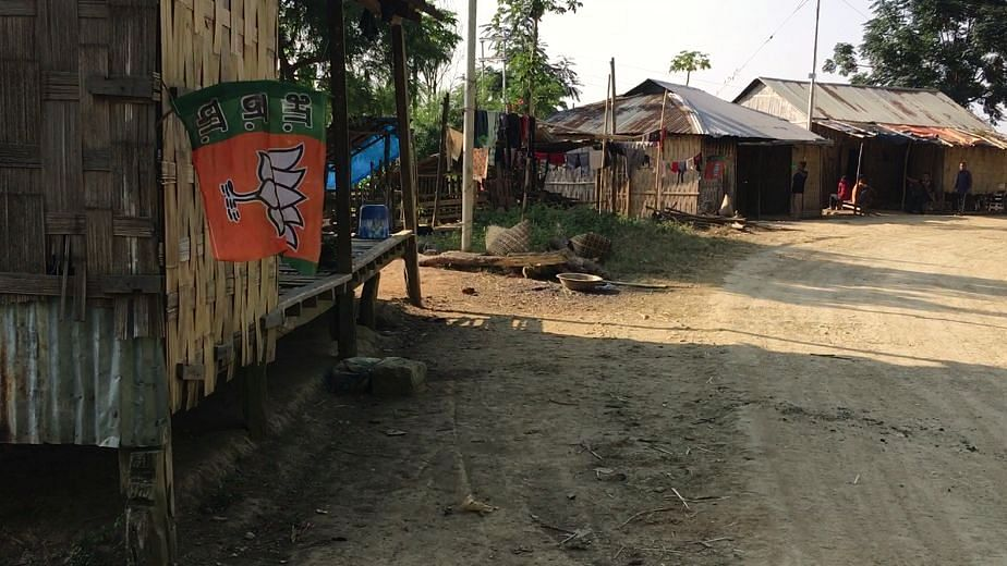 A BJP flag tied to a house in Damdiai, a village in the Mamit district of Mizoram.