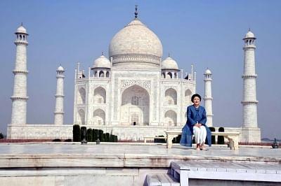 Agra: First Lady of South Korea, Kim Jung-sook visits the Taj Mahal in Agra on Nov 7, 2018. (Photo: IANS)