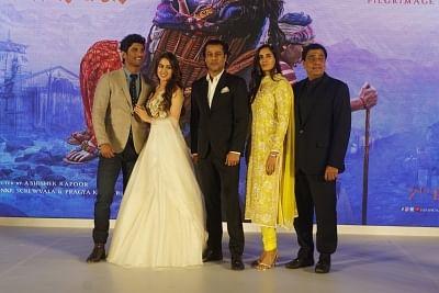 "Mumbai: Actors Sara Ali Khan and Sushant Singh Rajput, director Abhishek Kapoor and producer Ronnie Screwvala at the trailer launch of their upcoming film ""Kedarnath"" in Mumbai, on Nov 12, 2018. (Photo: IANS)"