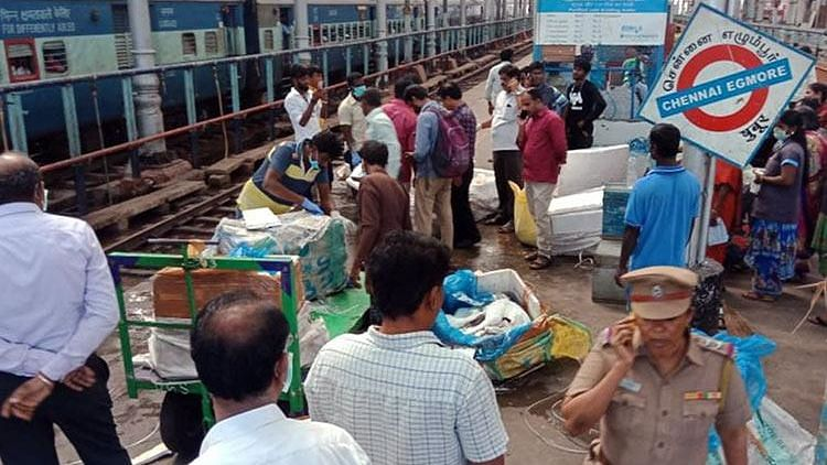 Food safety officials seized 2,100 kg of suspected dog meat at Chennai Egmore station on Saturday.
