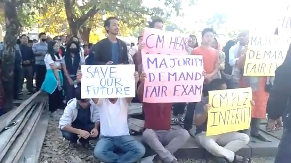 Some of the candidates were protesting demanding that the examinations be postponed as there is an ongoing case in court related to the examination.