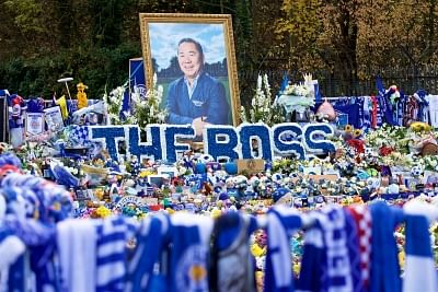 LEICESTER, Nov. 11, 2018 (Xinhua) -- Tributes left for Leicester City chairman Vichai Srivaddhanaprabha, who died in a helicopter crash outside the King Power Stadium, are seen before the English Premier League match between Leicester City FC and Burnley FC at the King Power Stadium in Leicester, Britain on Nov. 10, 2018. The game ended 0-0. (Xinhua/IANS)