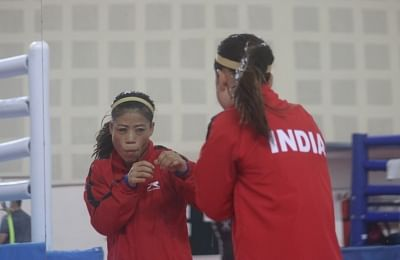 New Delhi: Indian Boxer MC Mary Kom at a practice session during the ongoing 10th AIBA Women