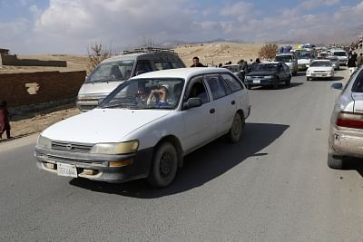 GHAZNI, Nov. 12, 2018 (Xinhua) -- Families arrive in Ghazni city from Jaghori district of Ghazni province, Afghanistan, on Nov. 12, 2018. Taliban militants in a surprise move stormed security checkpoints in the peaceful Jaghori district on Wednesday and since then fighting has been continuing in Jaghori and the neighboring Malestan districts which have claimed dozens of lives besides rendering scores of people homeless. (Xinhua/Sayed Mominzadah/IANS)