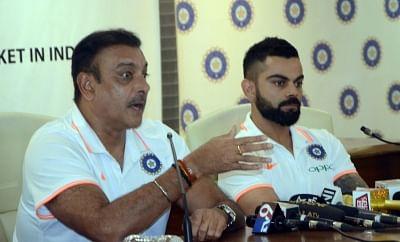 Mumbai: Indian head coach Ravi Shastri accompanied by captain Virat Kohli, addresses a press conference ahead of the team