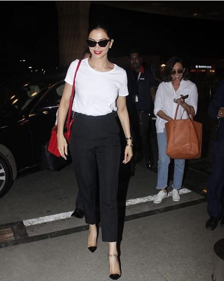 Deepika with her red bag