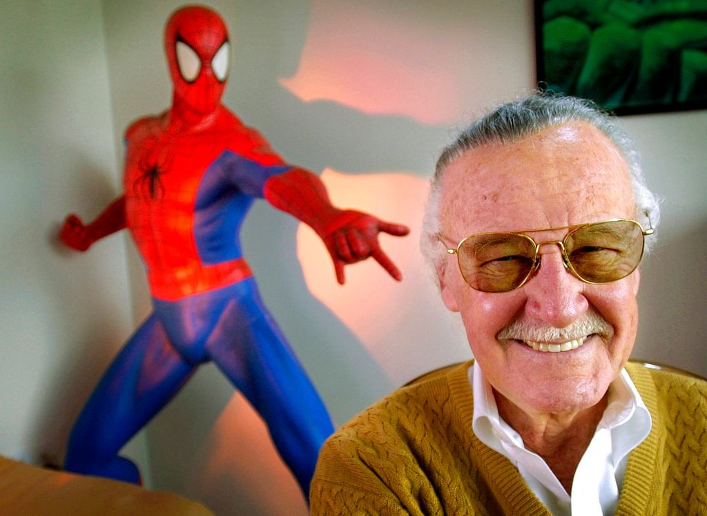 In this 16 April 2002 photo, Stan Lee smiles during a photo session in his office in Santa Monica, California.