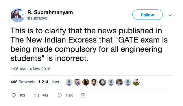 No, GATE Is Not Mandatory for Engineering Students as Exit Exam