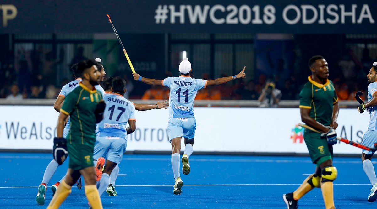 Mandeep Singh set India on course with the opening goal of a 5-0 thumping of South Africa in their HWC 2018 opener.