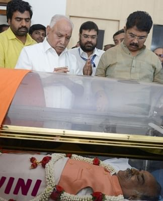 Bengaluru: BJP leader B.S. Yeddyurappa pays his last respects to Union Parliamentary Affairs Minister Ananth Kumar who passed away at a private hospital due to multiple organ failure, at his residence and home-office at Basavangudi in Bengaluru on Nov 12, 2018. (Photo: IANS)