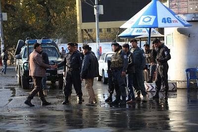 KABUL, Nov. 12, 2018 (Xinhua) -- Afghan security force members stand at the site of a blast in Kabul, capital of Afghanistan, Nov. 12, 2018. At least six people were confirmed dead and 15 others wounded in a blast that rocked Kabul on Monday, police spokesman Basir Majahid said. (Xinhua/Rahmat Alizadah/IANS)