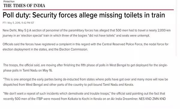 Screenshot of a Times of India article from May explaining why troops had to travel by air to Kerala.