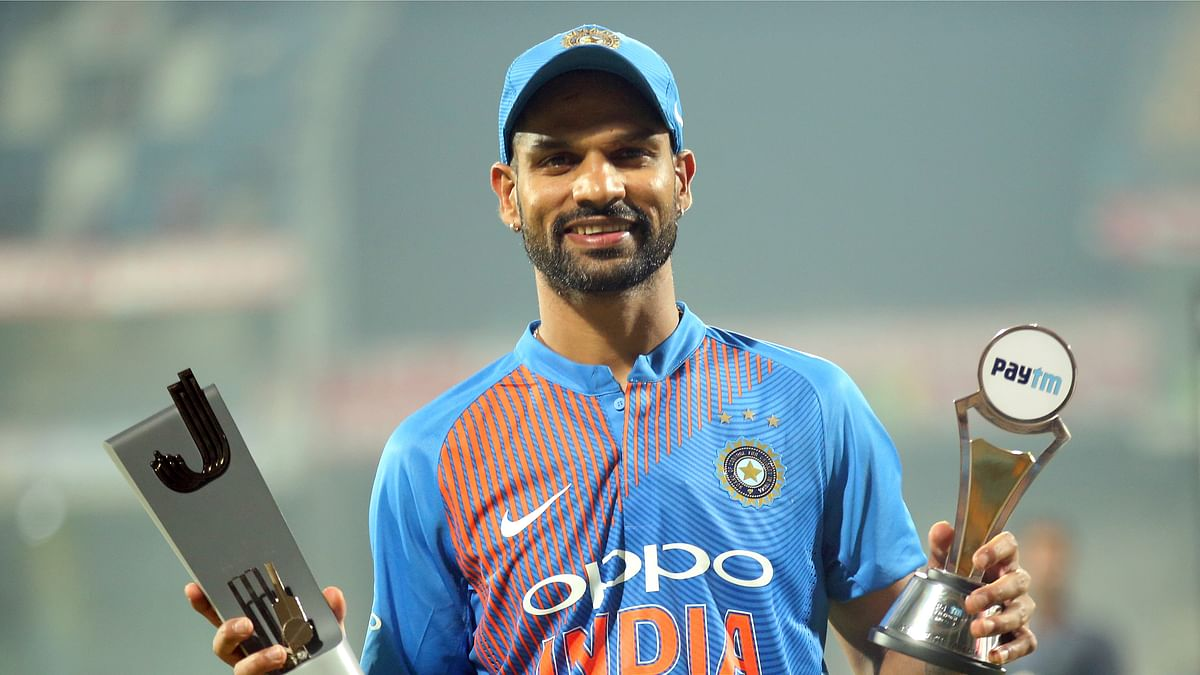 Shikhar Dhawan was named the Man of the Match of the final T20 between India and West Indies in Chennai on Sunday.