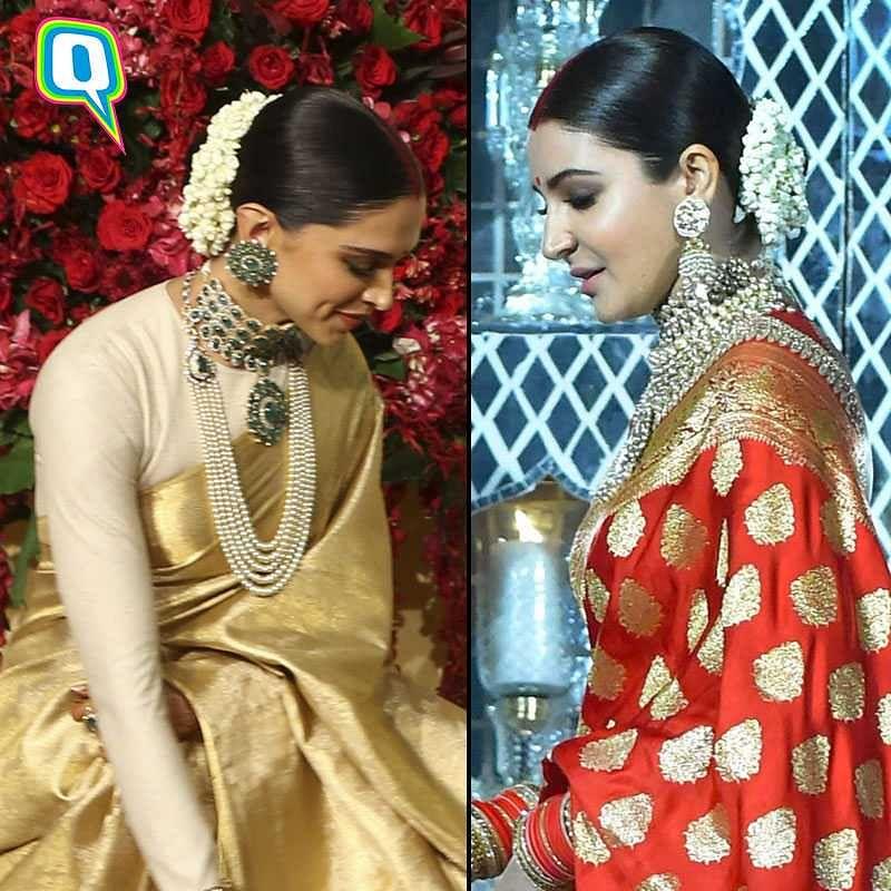 Deepika and Anushka in banarasi saris.