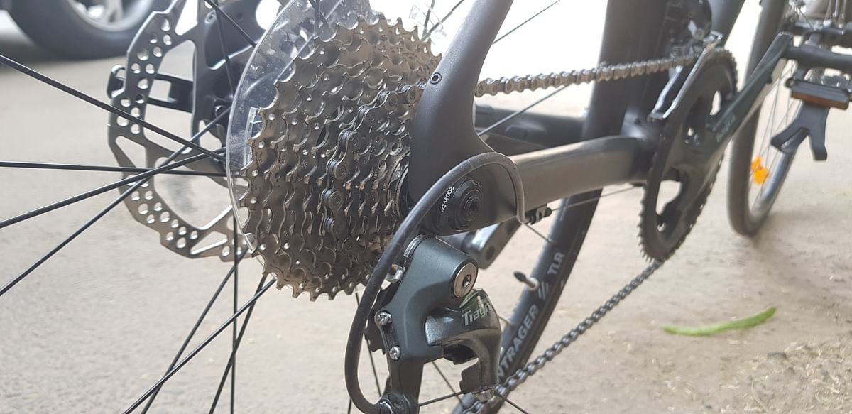 The rear is a 10-speed Shimano Tiagra.
