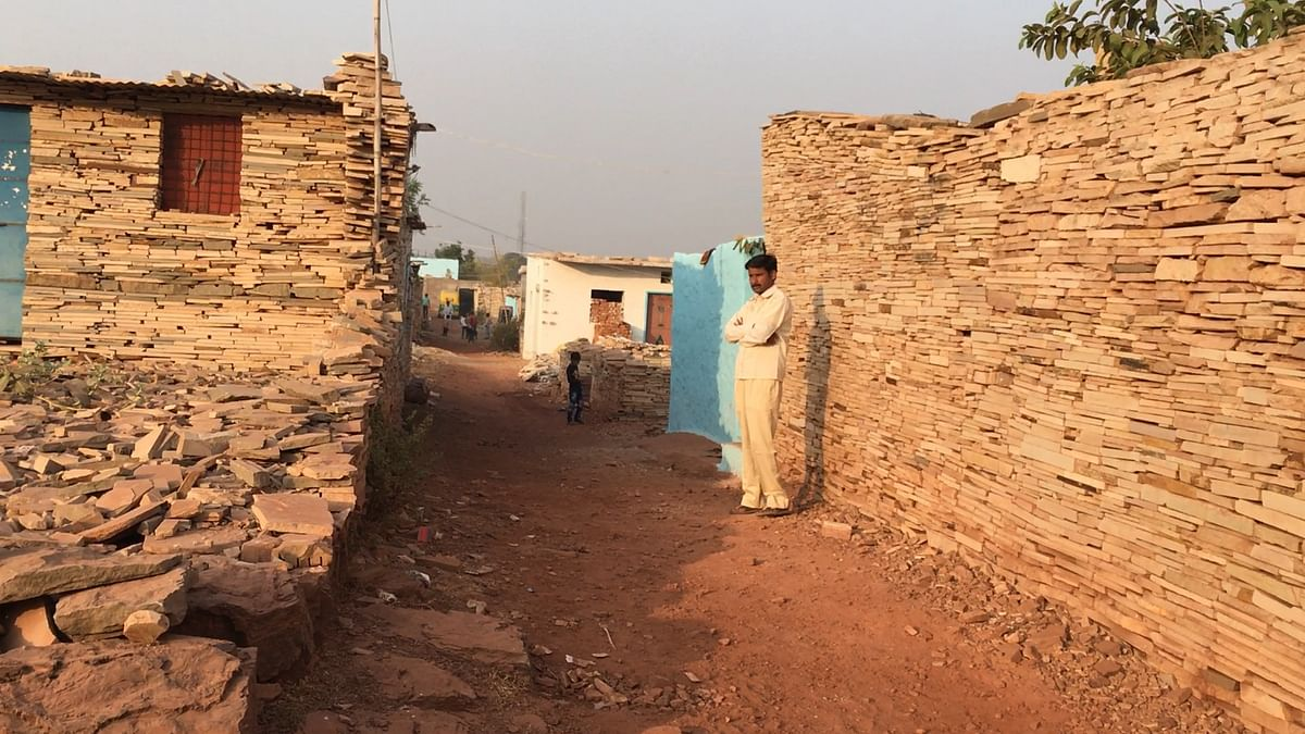 At least 500 people are  living in the houses built of crushed stones, which are discarded by nearby factories.