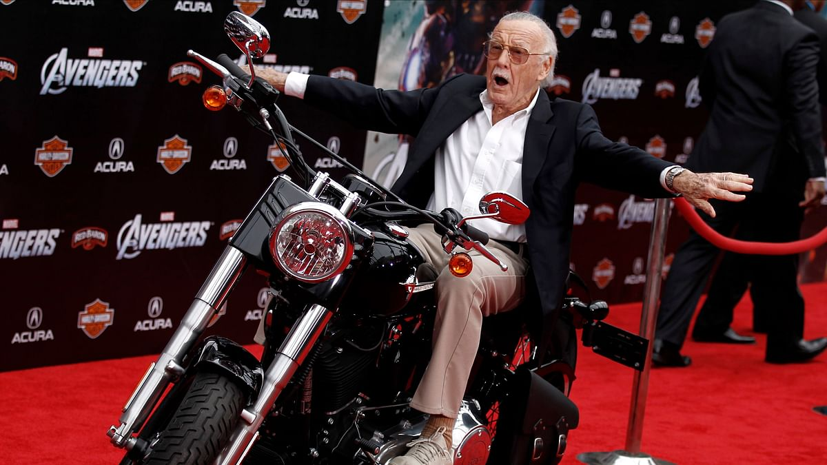 "Stan Lee at the premiere of ""The Avengers"" in Los Angeles."