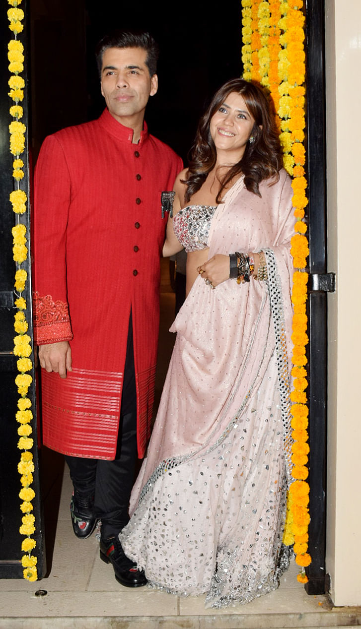 KJo and Ekta Kapoor pose together at Kapoor's Diwali party.