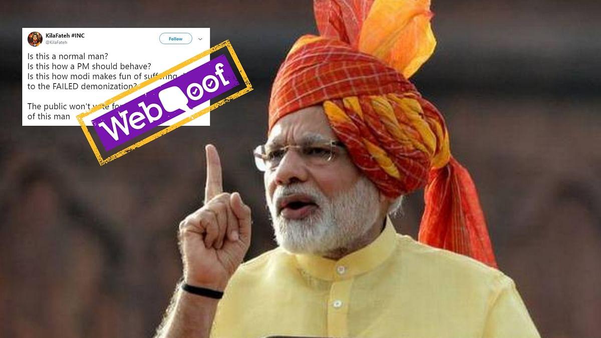 Video Claiming Modi Mocked Indians After Demonetisation is Fake