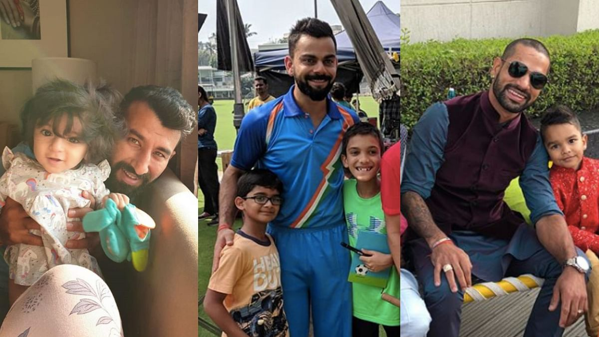 Cheteshwar Pujara posted a picture with his toddler Aditi while Shikhar Dhawan uploaded a video with son Zoraver.