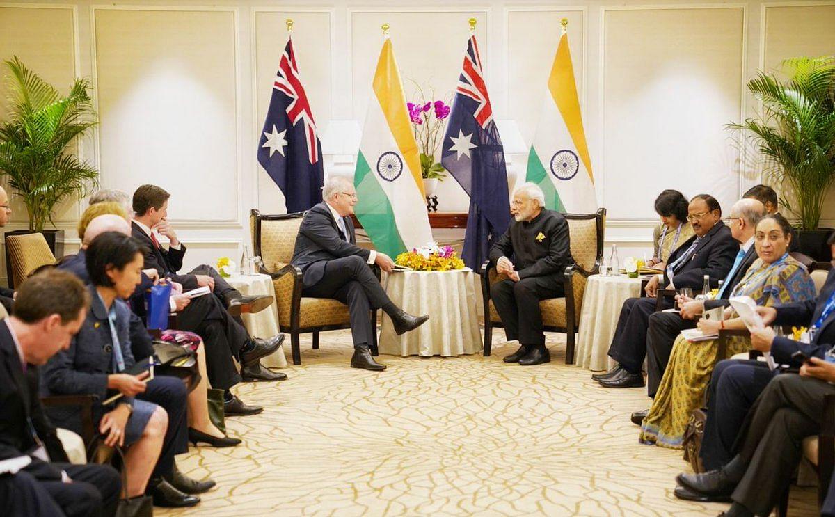 PM Modi interacting with Australian PM, Scott Morrison on the sidelines ASEAN meet.