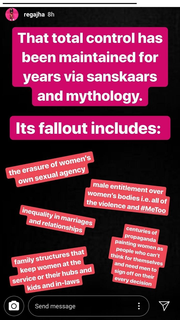 A series of Instagram stories by Rega Jha.