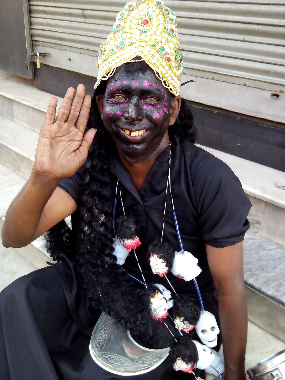 He was dressed to impersonate Goddess Kali.