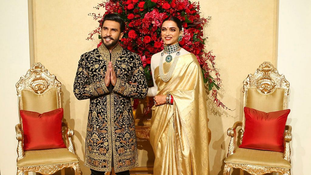 Deepika and Ranveer at their Bengaluru wedding reception.