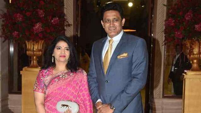 Anil Kumble with his wife Chethana at the Bengaluru wedding reception of Ranveer Singh and Deepika Padukone.