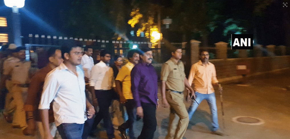 G Janardhan Reddy comes out of central prison after being granted bail.