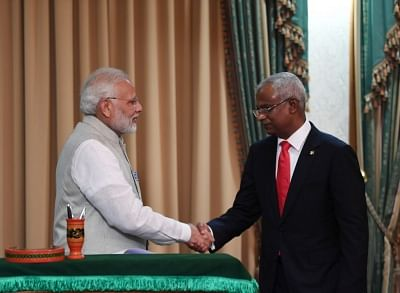 Male: Prime Minister Narendra Modi and new Maldives President Ibrahim Mohamed Solih during a Joint Press Statement in Male, Maldives on Nov 17, 2018. (Photo: IANS/MEA)