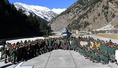 Harsil: Prime Minister Narendra Modi celebrates Diwali with the jawans of the Indian Army and ITBP at Harsil, in Uttarakhand on Nov 7, 2018. (Photo: IANS/PIB)