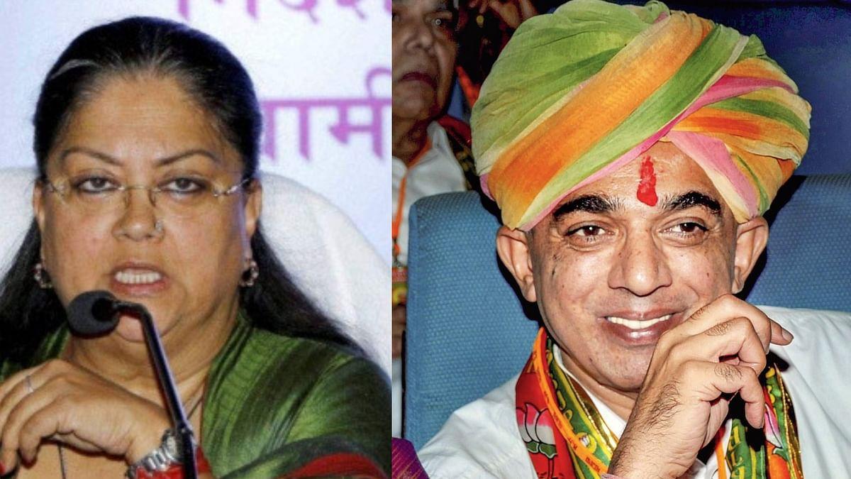 Vasundhara Raje (left) and Manvendra Singh (right).