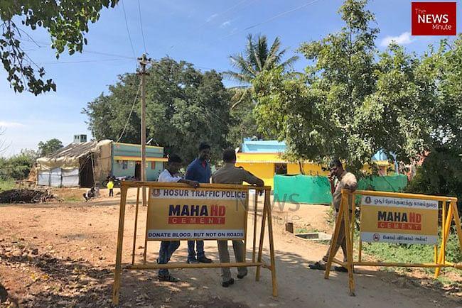 Police barricades in Krishnagiri district