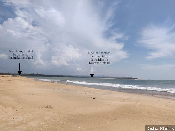 While the island of Pavinakurve (on the left) is losing land to erosion, new land is being formed on the island of Kasarkod (right) due to deposition of sediments called accretion. The new land goes to the government and not the ones who lost their land to erosion.